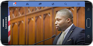 Mobile phone screen showing Senator Winfield's Facebok page.